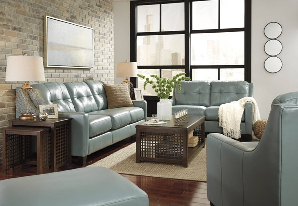 OKean Contemporary Sky Leather Solid Wood 3pc Living Room Set 59103-LR-S1
