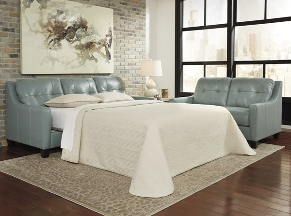 OKean Contemporary Sky Leather Solid Wood Queen Sofa Sleeper 5910339