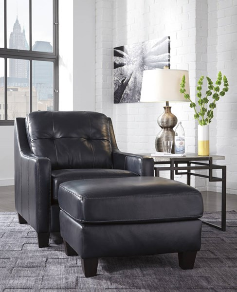 OKean Contemporary Navy Leather Solid Wood Chair & Ottoman Set 59104-CHO-S1