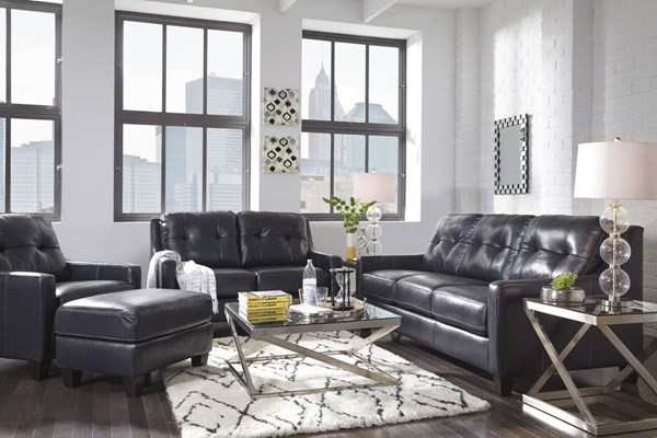 OKean Contemporary Navy Leather Solid Wood 3pc Living Room Set 59104-LR-S1