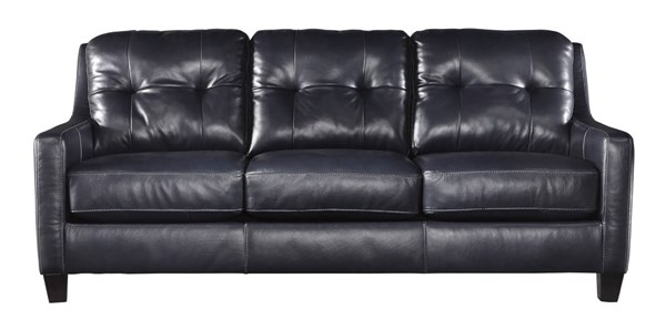 OKean Contemporary Navy Leather Solid Wood Sofa 5910438