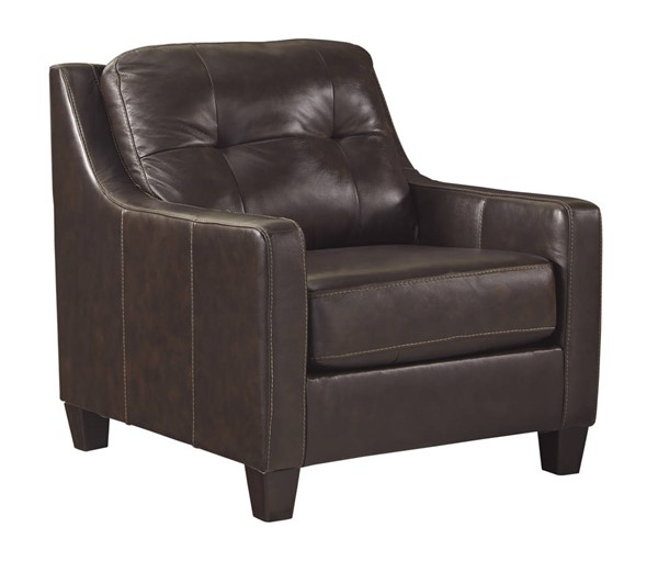 OKean Contemporary Mahogany Leather Solid Wood Chair 5910520