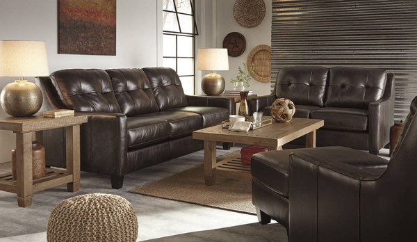 OKean Contemporary Mahogany Leather Solid Wood 3pc Living Room Set 59105-LR-S1