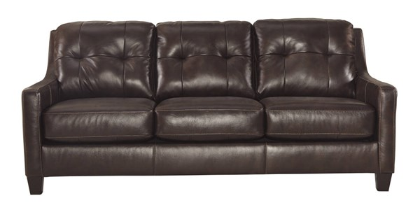 OKean Contemporary Mahogany Leather Solid Wood Sofa 5910538