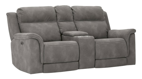Ashley Furniture Next-Gen DuraPella Slate Power Recliner Loveseat With Console And Headrest 5930118