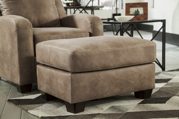 Alturo Contemporary Dune Fabric Wood Ottoman 6000314
