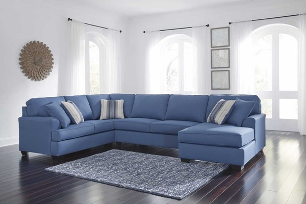 Ashley Furniture Brioni Nuvella Blue Raf Chaise Sectional
