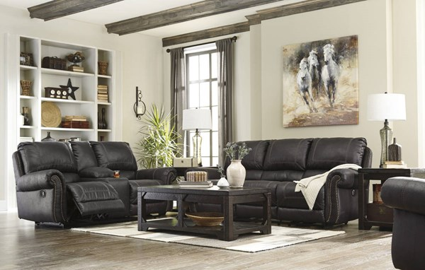 Milhaven Contemporary Black Faux Leather 3pc Living Room Set 63303-LR-S1