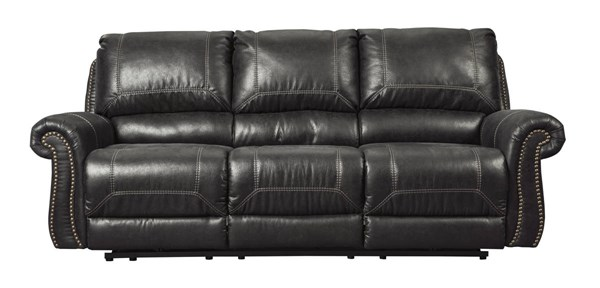Milhaven Contemporary Black Faux Leather Reclining Power Sofa 6330387