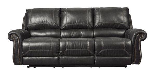 Milhaven Contemporary Black Faux Leather Reclining Sofa 6330388