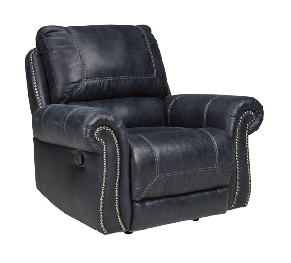 Milhaven Contemporary Navy Faux Leather Rocker Recliner 6330425