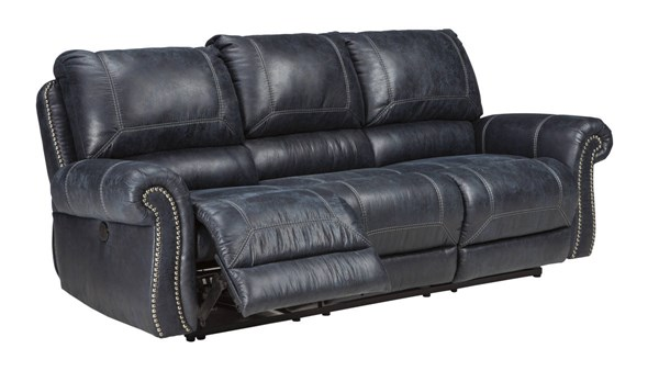 Milhaven Contemporary Navy Faux Leather Reclining Power Sofa 6330487