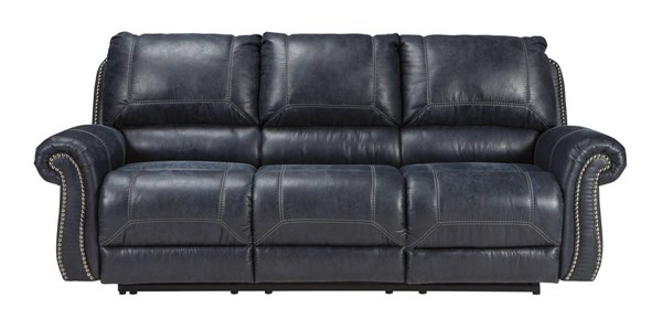 Milhaven Contemporary Navy Faux Leather Reclining Sofa 6330488