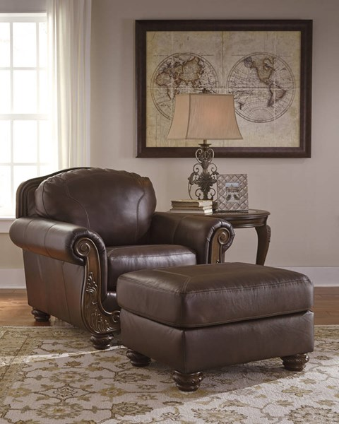 Ashley Furniture Leather Storage Ottoman With Wood ~ Ashley furniture mellwood walnut chair and ottomans set