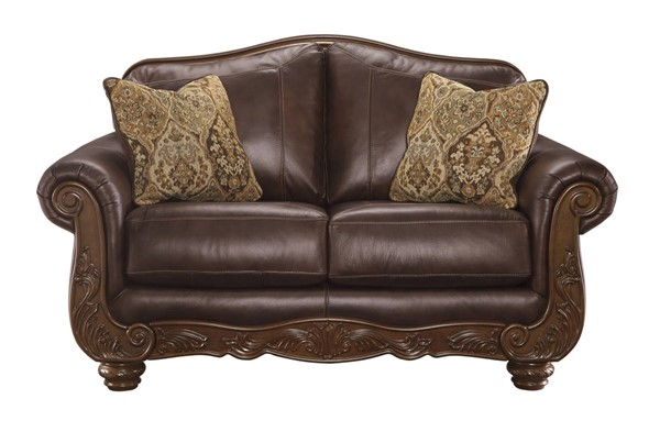 Mellwood Traditional Walnut Solid Wood Leather Loveseat 6460535