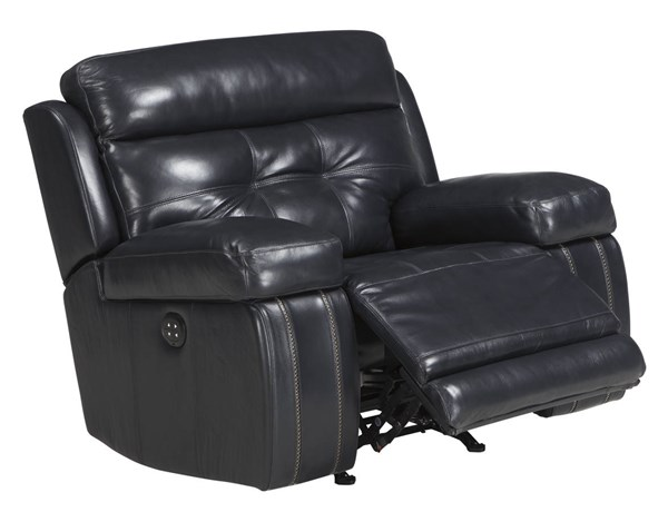 Graford Contemporary Navy Leather Adjustable Headrest Power Recliner 6470313