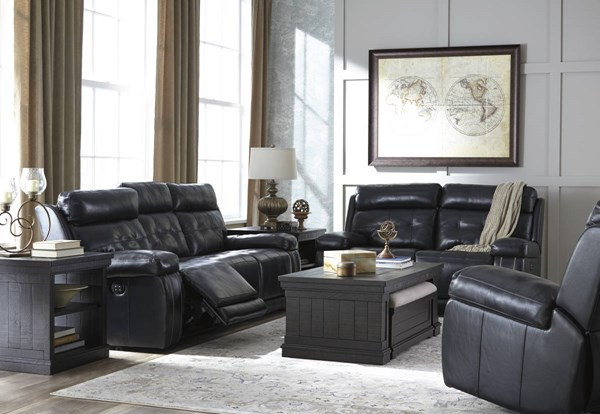 Graford Contemporary Navy Leather 3pc Living Room Set 647031-LR-S1