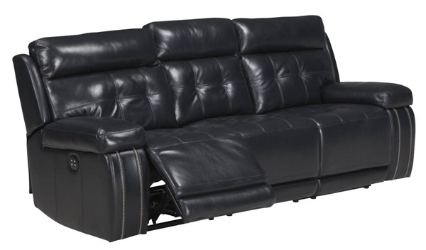Graford Navy Leather Adjustable Headrest Power Recliner Sofa 6470315
