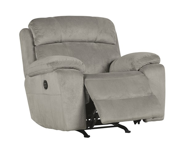 Uhland Contemporary Granite Fabric Adjustable Headrest Power Recliner 6480413