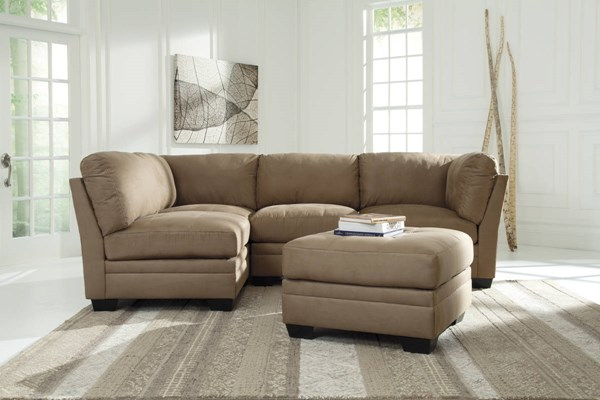 Iago Contemporary Mocha Fabric Solid Wood Sectionals W/Ottoman 65105-LR-S-VAR