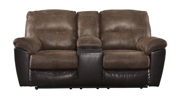Follett Contemporary Coffee Fabric Double Reclining Loveseat W/Console 6520294