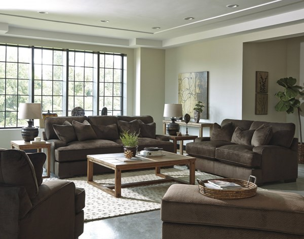 Bisenti Contemporary Chocolate Fabric 3pc Living Room Set 65306-LR-CH-S1