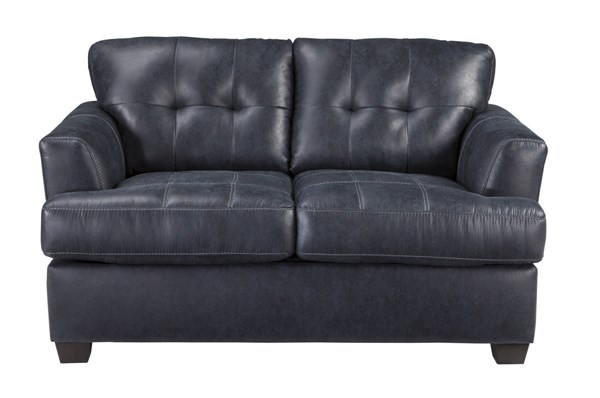 Inmon Contemporary Navy Solid Wood Fabric Loveseat 6580635