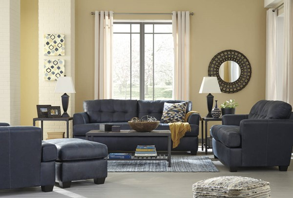 Inmon Contemporary Navy Solid Wood Fabric Living Room Set 65806-LR