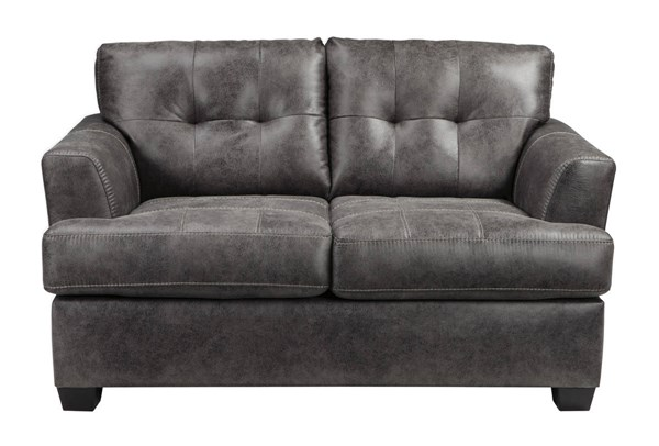 Inmon Contemporary Charcoal Solid Wood Fabric Loveseat 6580735