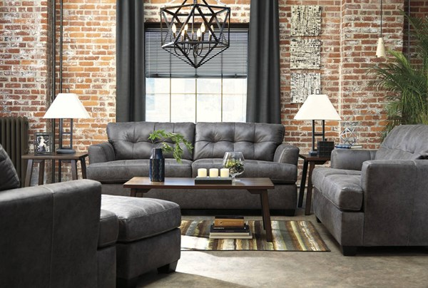 Inmon Contemporary Charcoal Solid Wood Fabric 3pc Living Room Set 65807-LR-CH-S1