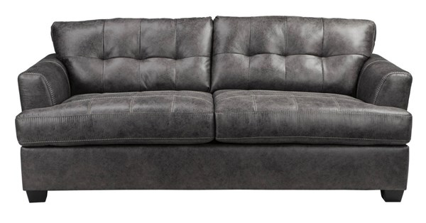 Inmon Contemporary Charcoal Solid Wood Fabric Sofa 6580738