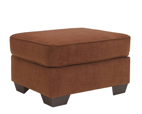 Deandre Contemporary Terra Cotta Wood Fabric Ottoman 6590114