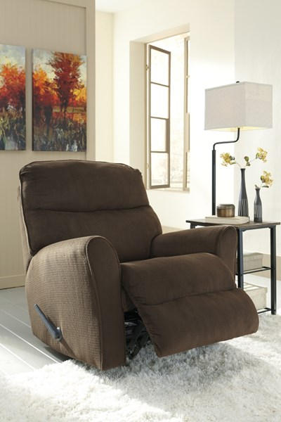 Cossette Contemporary Bustle Back & Track Arms Fabric Rocker Recliners COSSETTE-VAR1