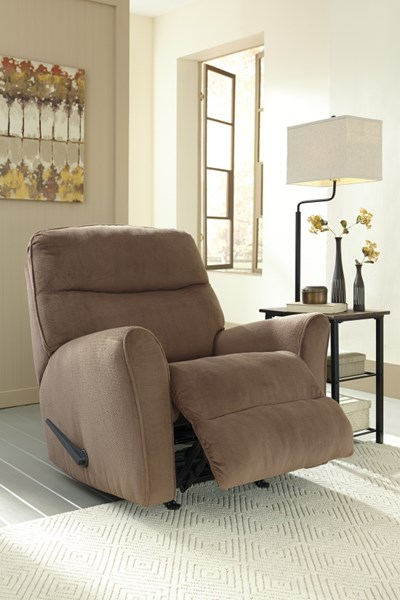 Cossette Contemporary Cocoa Fabric Bustle Back Rocker Recliner 6730325