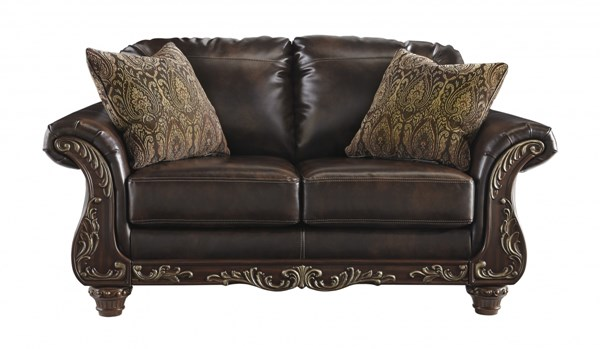 Vanceton Traditional Classics Antique PU Wood Loveseat 6740235