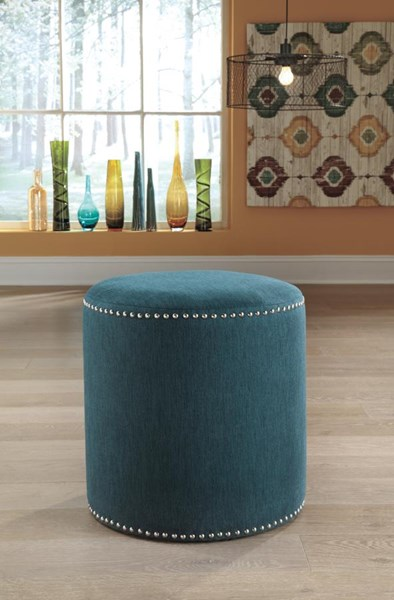 Revel Contemporary Teal Fabric Accent Ottoman 6810213