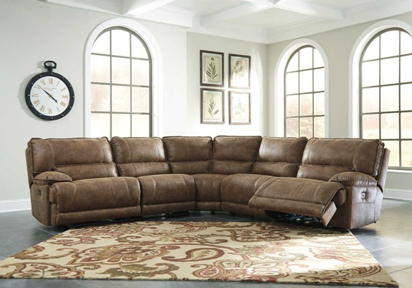 Ashley Furniture Grattis Saddle Power Sectional The
