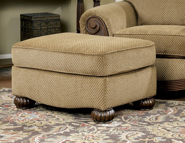 Lynnwood Traditional Amber Fabric Wood Ottoman 6850014