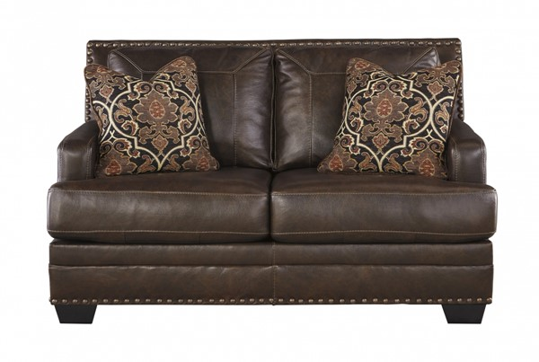 Corvan Contemporary Antique Leather Wood Loveseat 6910335