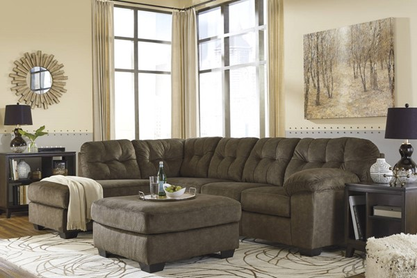 Ashley Furniture Accrington Earth LAF Chaise and Ottoman Sectionals ACCRINGTON-VAR19