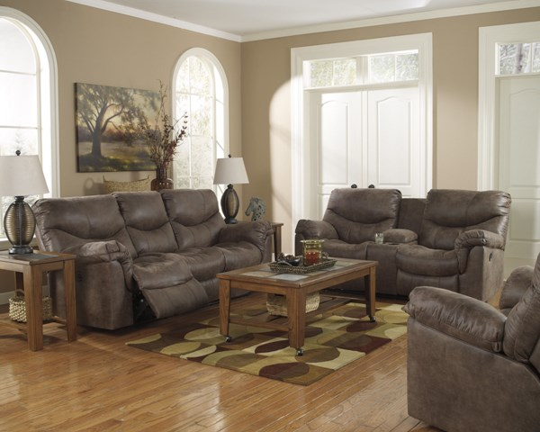 Alzena Contemporary Gunsmoke Faux Leather 3pc Living Room Sets 71400-LR-S