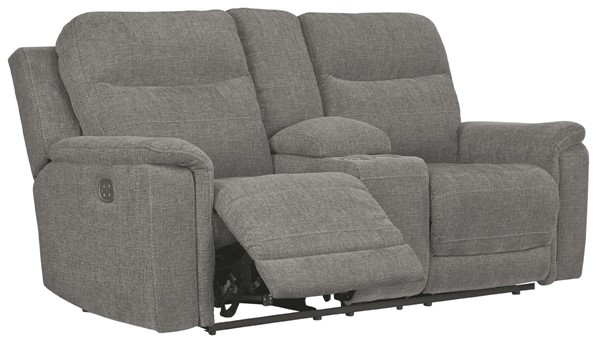 Ashley Furniture Mouttrie Smoke Power Reclining Loveseat With Console And Adjustable Headrest 7320518