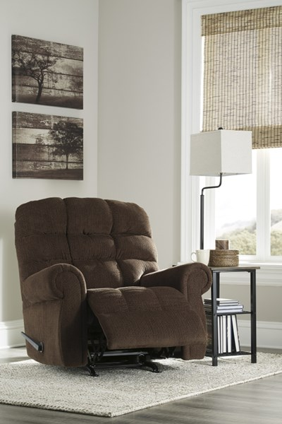 Edger Contemporary Walnut Fabric Round Arms Rocker Recliner 7470925