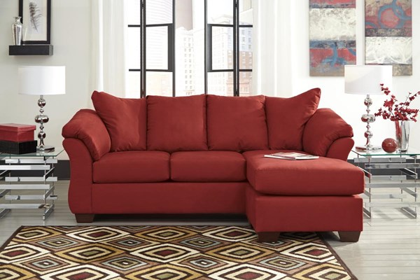 Darcy Contemporary Salsa Wood Pillow Top Arm Sofa Chaise 7500118