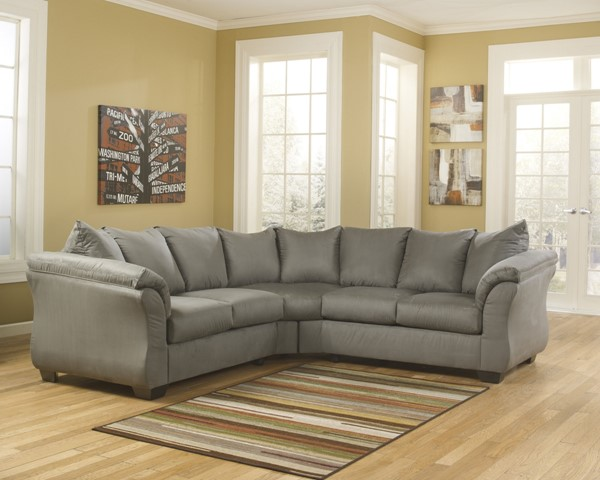 Darcy Contemporary Cobblestone Fabric LAF Loveseat 7500555