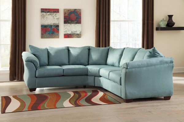 Darcy Contemporary Sky Fabric LAF Loveseat 7500655