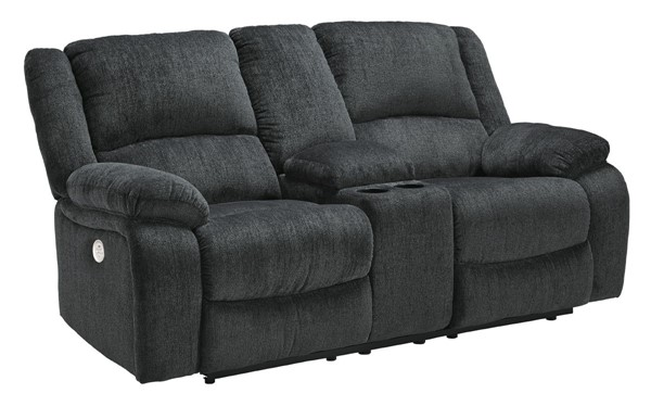 Ashley Furniture Draycoll Slate Power Double Reclining Console Loveseat 7650496