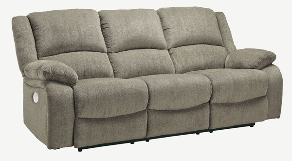 Ashley Furniture Draycoll Pewter Reclining Power Sofa 7650587