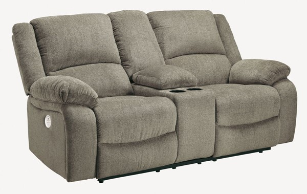 Ashley Furniture Draycoll Pewter Power Double Reclining Console Loveseat 7650596