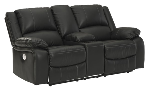 Ashley Furniture Calderwell Black Power Double Reclining Console Loveseat 7710196